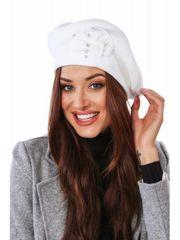Amando Dámska baretka s korálkami, biela C30