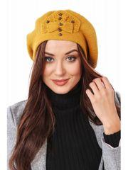 Amando Dámska baretka s korálkami, žltá C30