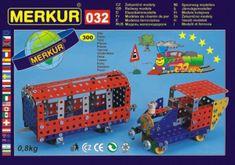 Merkur Stavebnice 032 Železniční modely 10 modelů 300ks v krabici 36x27x3cm