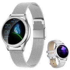 ARMODD Candywatch Crystal stříbrná + bílý kožený řemínek, dámské chytré hodinky (smartwatch)