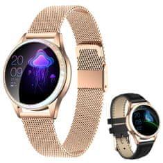 ARMODD Candywatch Crystal zlatá + černý kožený řemínek, dámské chytré hodinky (smartwatch)