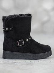 Exkluzívní sněhule dámské černé bez podpatku