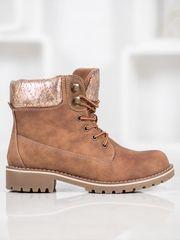 Jedinečné hnědé dámské kotníčkové boty na plochém podpatku