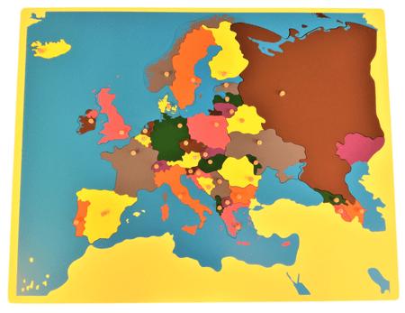 Montessori Puzzle Európa térkép keret nélkül