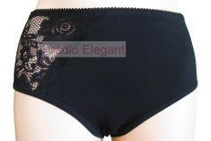Gabidar Bavlněné kalhotky s krajkou a vyšším pasem 100 černé