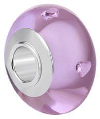 Infinity Love Jasnoróżowy szklany koralik HGSZ-053 srebro 925/1000