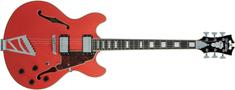 D'Angelico Premier DC Stairstep Tailpiece Fiesta Red Semiakustická kytara