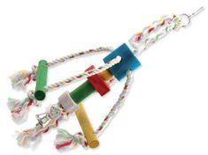 BIRD JEWEL Hračka chobotnička závěsná dřevo - provaz 29 cm