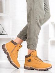 Originální trekingové boty dámské hnědé na plochém podpatku