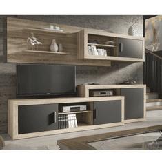 Obývacia stena, dub sonoma/sivá, OLAF NEW