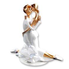 Svatební figurka na dort zlato bílá pevné objetí