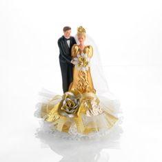 Svatební figurka na dort porcelánová zlaté šaty
