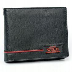 Always Wild Moderní pánská kožená peněženka s červeným proužkem