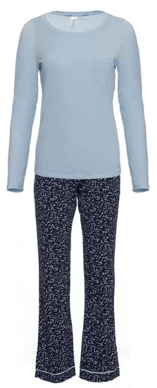 Calvin Klein dámské pyžamo QS6141E L/S Pant Set S modrá