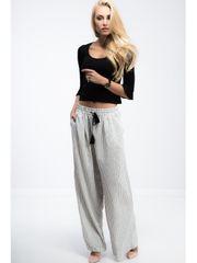 Amando Trendy krémové nohavice s čiernymi pásikmi