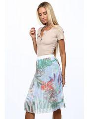 Amando Plisovaná sukňa s motívom rastlín MP81827 modrá