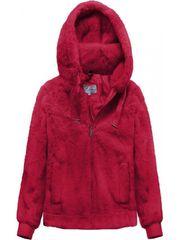 Amando Plyšová bunda s kapucňou 2019 červená