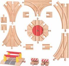 Woody Woody Příslušenství k dráze - Rozšířený set kolejí: výhybky, koncovky, točna