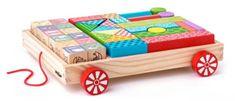 Woody Vozík s kostkami/razítky ABC
