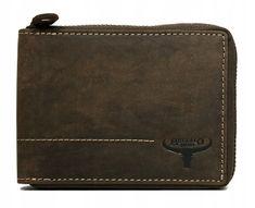 Buffalo Wild Praktická pánská kožená peněženka na zip Leon, hnědá
