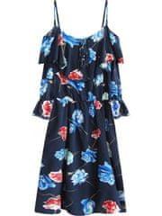 Amando Tmavo modré dámske kvetované šaty 356ART