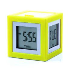 Lexon LCD budík CUBISSIMO, žlutá