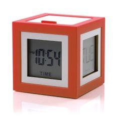 Lexon LCD budík CUBISSIMO, červená