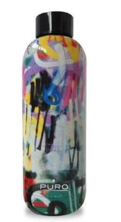 Puro steklenica dvojno dno n.jeklo, 500 ml, grafiti