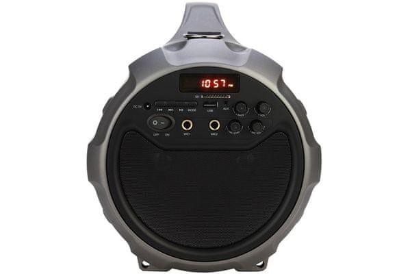 Bluetooth aux usb reproduktor vivax bs-201 aux vstup usb vstup slot na microSD karty mp3 podpora skvělý zvuk výkon 28 w rms nabíjecí baterie s výdrží 6 h mic in vstupy pro mikrofony