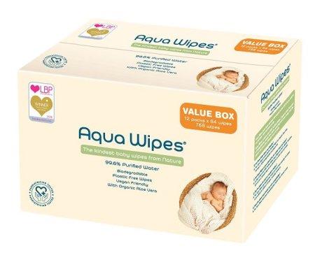 Aqua Wipes Nedves törlőkendők - BOX 12x64 db