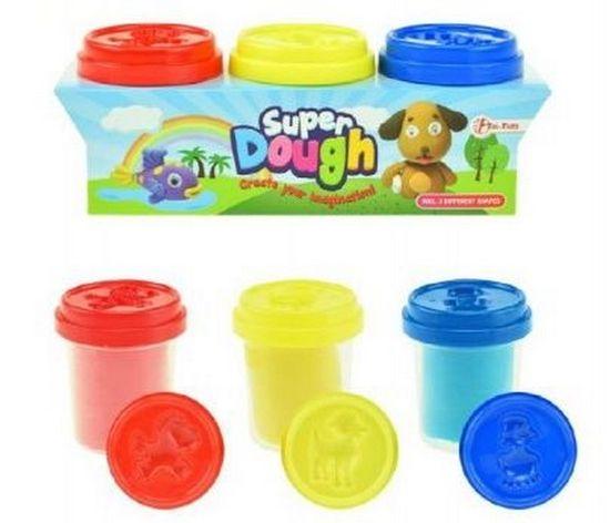 Teddies Sada Modelína/plastelína Super Dough 3x55g