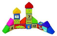 K´s Kids Sada veselých látkových kociek, 12 kociek a 8 trojuholníkov