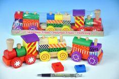 Mikro Trading Vlak/Vláček + 2 vagóny 2-Play s kostkami dřevo tahací 34cm