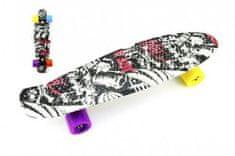 Teddies Skateboard 60cm nosnost 90kg, černo-červený,černé kovové osy, kola mix