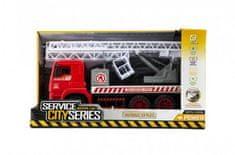 Teddies Auto hasiči s plošinou plast 35cm na setrvačník v krabici