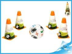 Mikro Trading Fotbalové kužely 18cm 4ks s míčem 12cm 10m+ v síťce