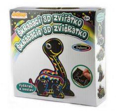 SMT Creatoys Škrabací 3D obrázek duhový dinosaurus 12x9cm