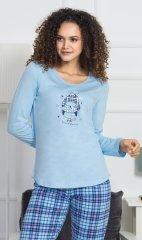 Stylomat Dámské pyžamo dlouhé Tučňák s čepičkou barva světle modrá