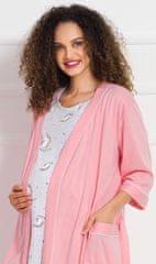 Stylomat Dámský župan s mateřskou košilí Jednorožci barva šedá/růžová