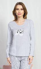 Stylomat Dámské pyžamo dlouhé Panda na obláčku barva světle šedá