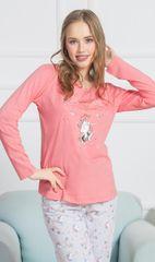 Stylomat Dámské pyžamo dlouhé Jednorožci barva lososová