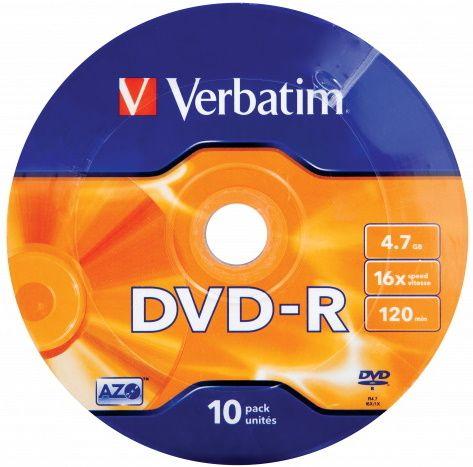 VERBATIM DVD-R AZO 4,7GB, 16x, wrap 10 ks (43729)