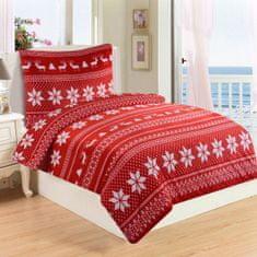 Jahu Posteľné obliečky Mikroplyš Winter red 70x90/140x200