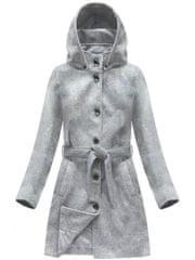 Amando Dámsky vlnený prechodný kabát s kapucňou 6798, sivý