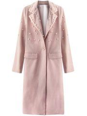 Amando Dámsky dlhý prechodný kabát s perlami 195ART, ružový