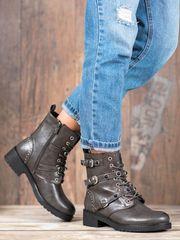 Trendy kotníčkové boty šedo-stříbrné dámské na plochém podpatku