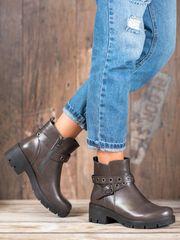 Praktické kotníčkové boty dámské šedo-stříbrné na širokém podpatku