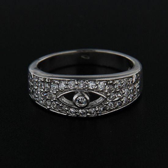 Amiatex Stříbrný prsten 14256 + Ponožky Sophia 2pack visone, 54