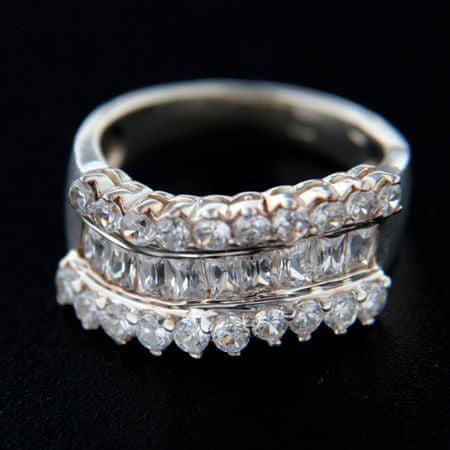Amiatex Ezüst gyűrű 14769 + Nőin zokni Gatta Calzino Strech, 54