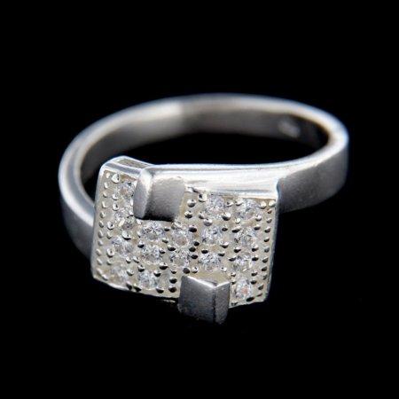 Amiatex Ezüst gyűrű 14848 + Nőin zokni Gatta Calzino Strech, 53